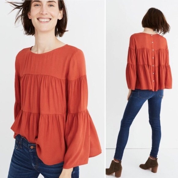 Madewell Orange Tiered Button Back Top